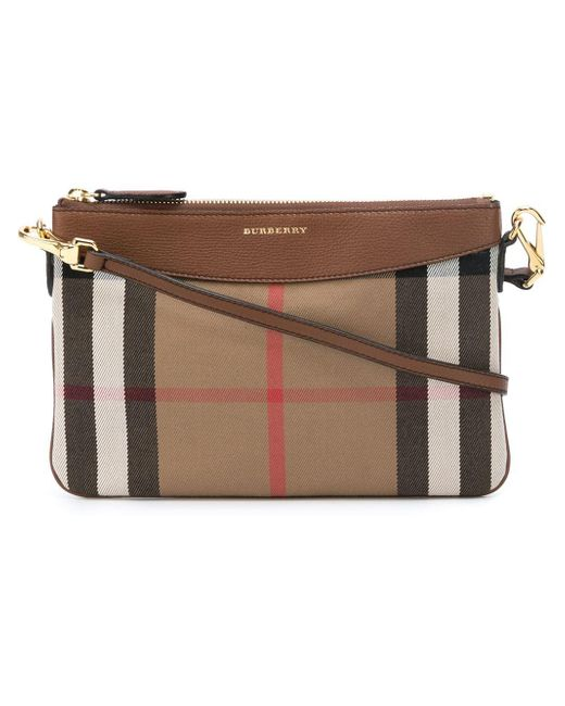 Burberry | Brown Peyton Leather Check Crossbody Bag | Lyst
