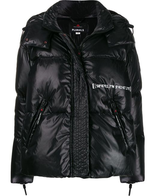 Peuterey Black Contrast Print Padded Jacket