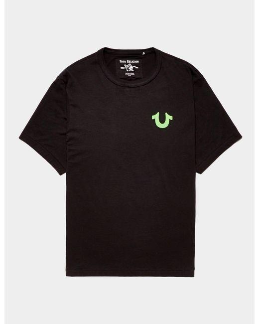 True Religion Black Neon Buddah Short Sleeve T-shirt Blk/blk for men