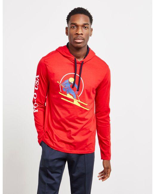 1cc55e9e4 Lyst - Polo Ralph Lauren Cotton Jersey Hooded T-shirt in Red for Men ...