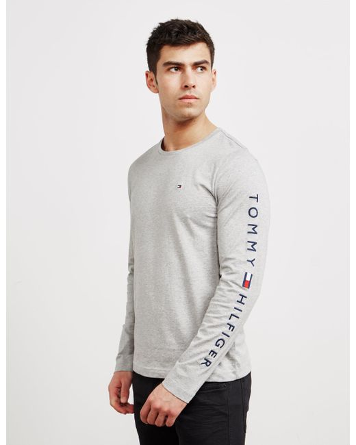 2c6d0344 Tommy Hilfiger - Gray Long Sleeve Arm Logo T-shirt Grey for Men - Lyst ...