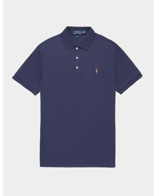 Polo Ralph Lauren Plain Pima Short Sleeve Polo Shirt Blue for men