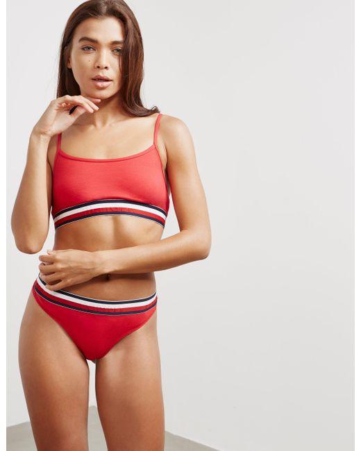 ffeba96f7d46d Tommy Hilfiger Womens Crop Bralette - Online Exclusive Red in Red - Lyst
