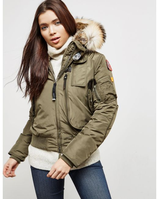 Parajumpers - Natural Womens Gobi Padded Bomber Jacket Khaki - Lyst ...