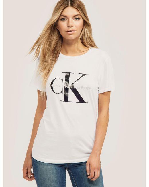 Calvin Klein | White Re-issued Shrunken T-shirt | Lyst