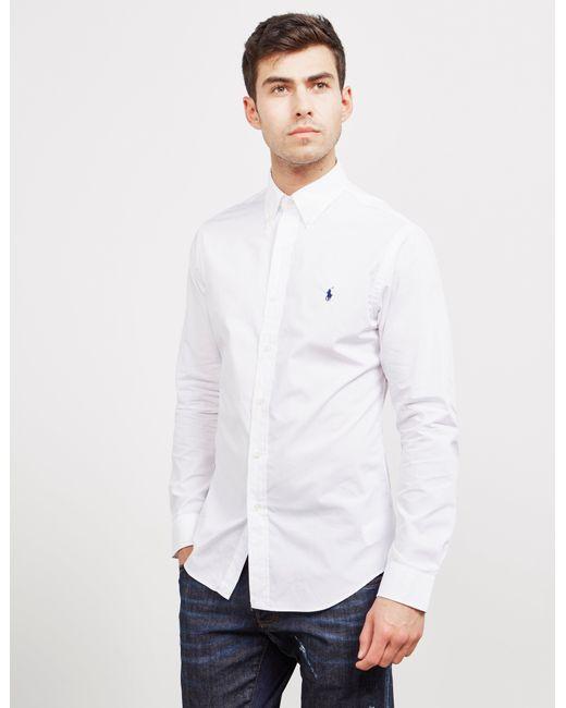 b7013c391a Polo Ralph Lauren - Poplin Slim Long Sleeve Shirt White for Men - Lyst ...