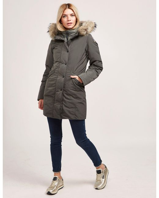 ... Parajumpers - Gray Womens Angie Padded Jacket Grey - Lyst ...