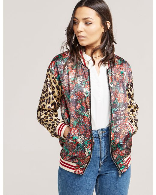 Maison Scotch | Multicolor Women's Silky Feel Print Mixed Bomber Jacket With Lurex Ribs | Lyst