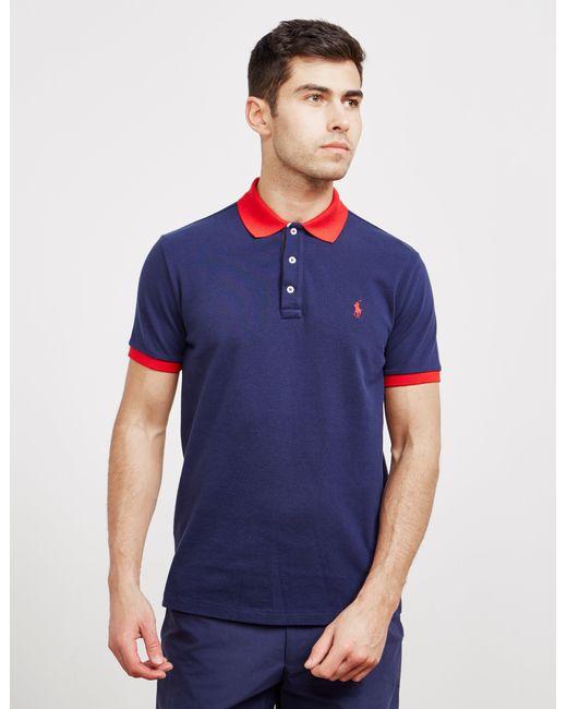 df6133f4 Polo Ralph Lauren - Tipped Placket Short Sleeve Polo Shirt Navy Blue for Men  - Lyst ...