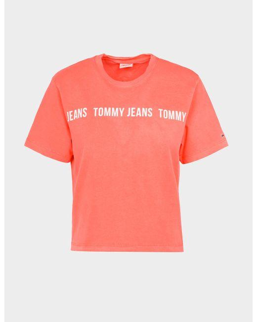 Tommy Hilfiger Pink Boxy Tape Cropped T-shirt