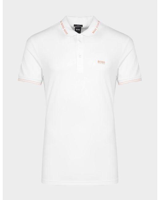 BOSS by Hugo Boss White Paule Tip Polo Shirt for men