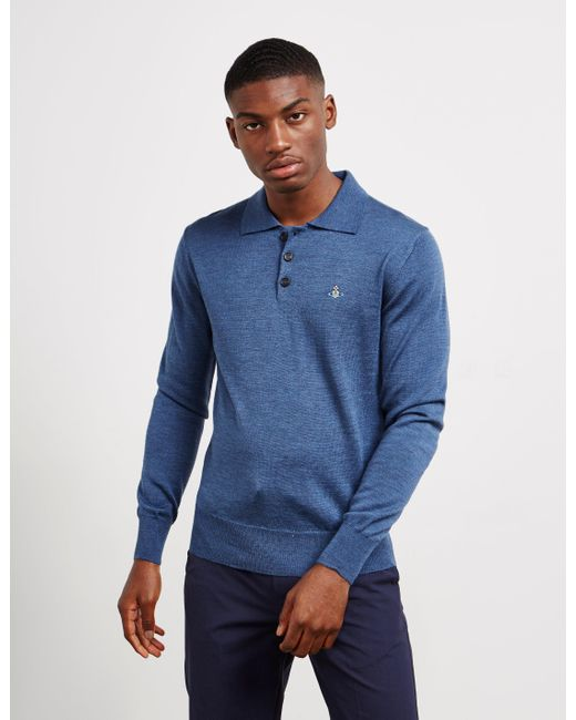 c5f72b96 Men's Knit Long Sleeve Polo Shirt Blue