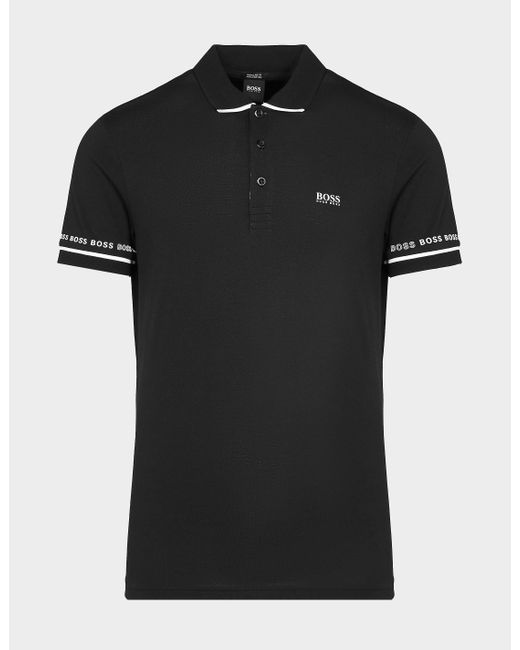 BOSS by Hugo Boss Black Paddy Band Polo Shirt for men