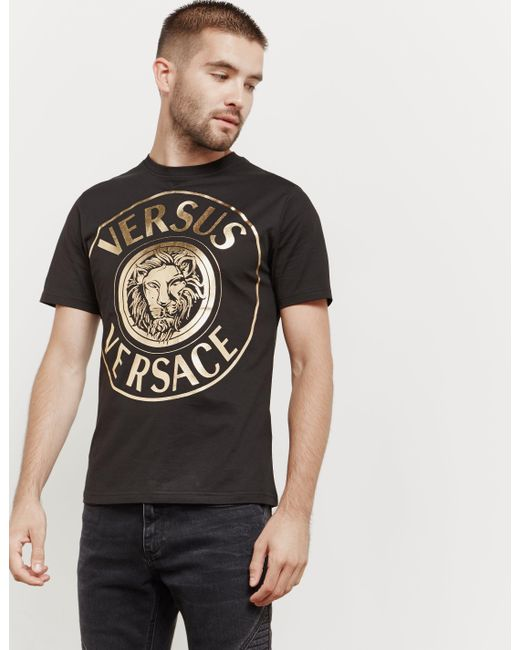 Versus  - Mens Lion Logo Short Sleeve T-shirt Black for Men - Lyst