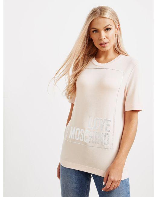 Love Moschino - Womens Logo Box Short Sleeve T-shirt Pink - Lyst
