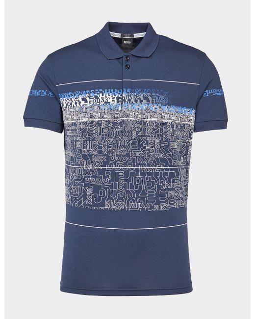 BOSS by Hugo Boss Paddy Text Print Polo Shirt Blue for men