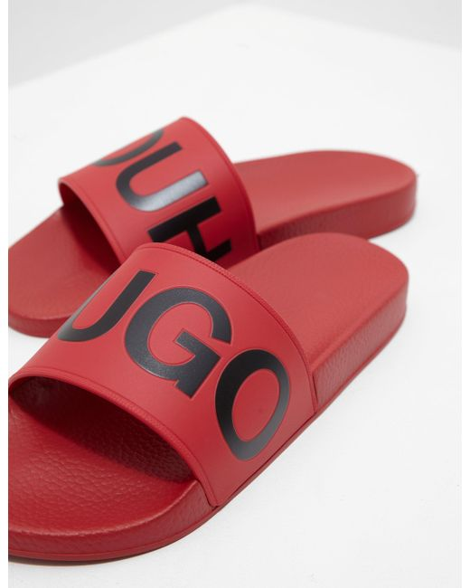 9a2bbc2e0422 Lyst - HUGO Timeout Slides Red in Red for Men - Save 72%