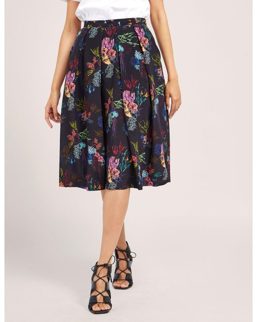 Paul Smith | Black Coral Print Skirt | Lyst