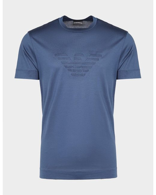 Emporio Armani Merchandised Stitch Eagle T-shirt Blue for men
