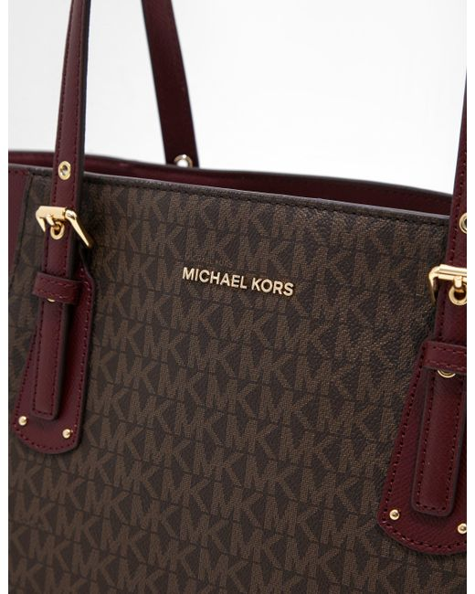 Signature Canvas Michael Kors Voyager Bag Red Lyst Tote CQhsrtd