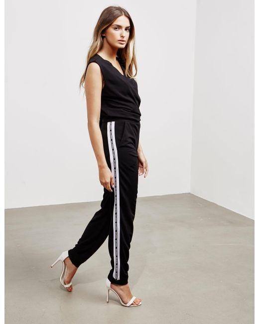 cd72aef13869 Karl Lagerfeld Logo Jumpsuit Black in Black - Save 24% - Lyst