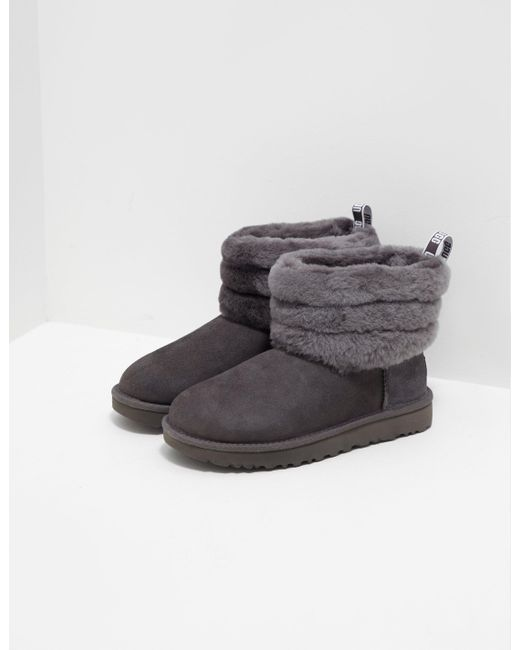 Ugg - Gray Womens Fluff Mini Quilted Logo Boots Women's Grey ...