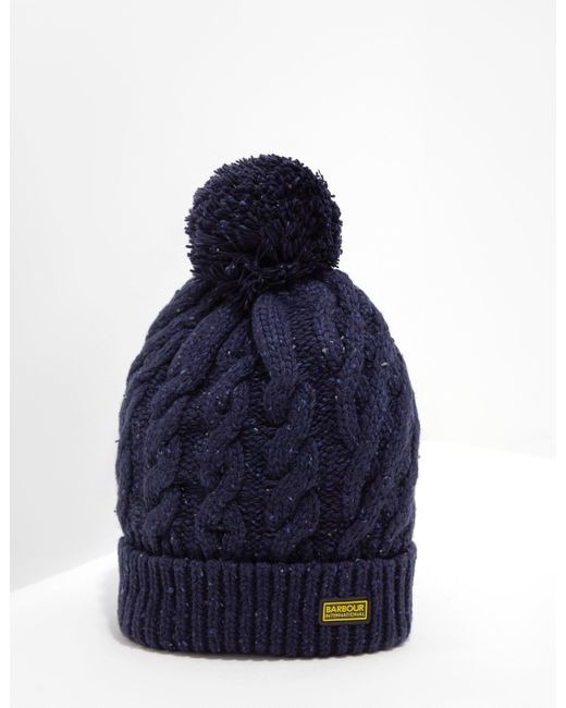 f3c137ca402 Barbour - International Bobble Hat - Exclusively To Tessuti Navy Blue for  Men - Lyst ...