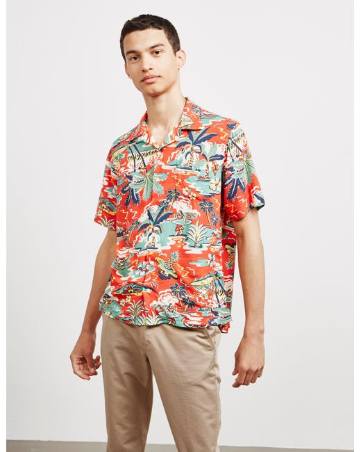 Polo Ralph Lauren Red Hawaiian-print Short-sleeved Shirt for men