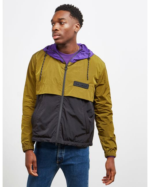 AMI Panel Windbreaker Jacket Olive/black/purple for men