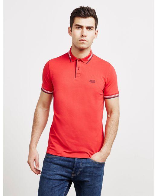 BOSS Paul Short Sleeve Polo Shirt Red for men