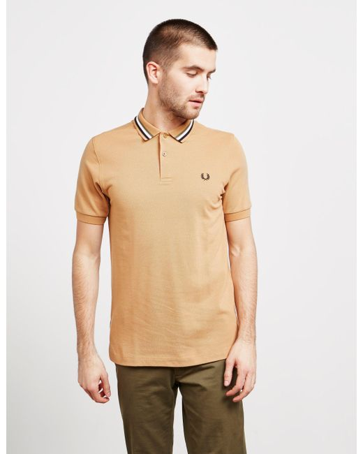 946b41ea84 Fred Perry - Stripe Collar Short Sleeve Polo Shirt Brown for Men - Lyst ...