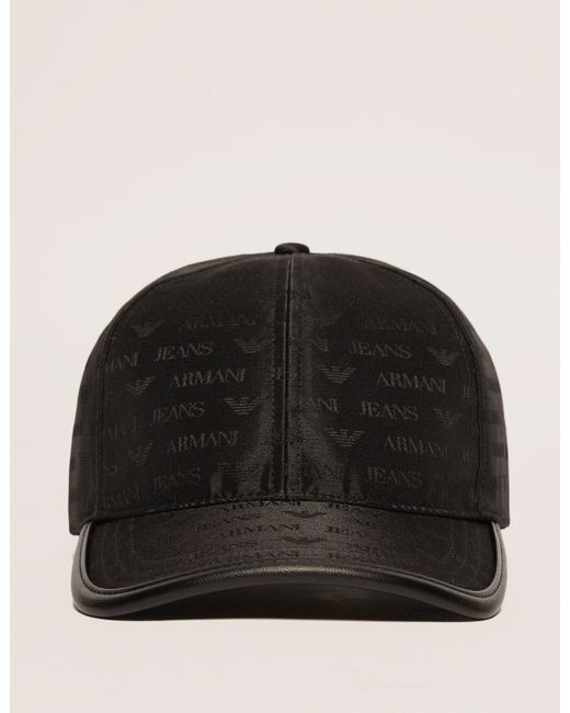 Armani Jeans | Black Nylon Print Cap for Men | Lyst