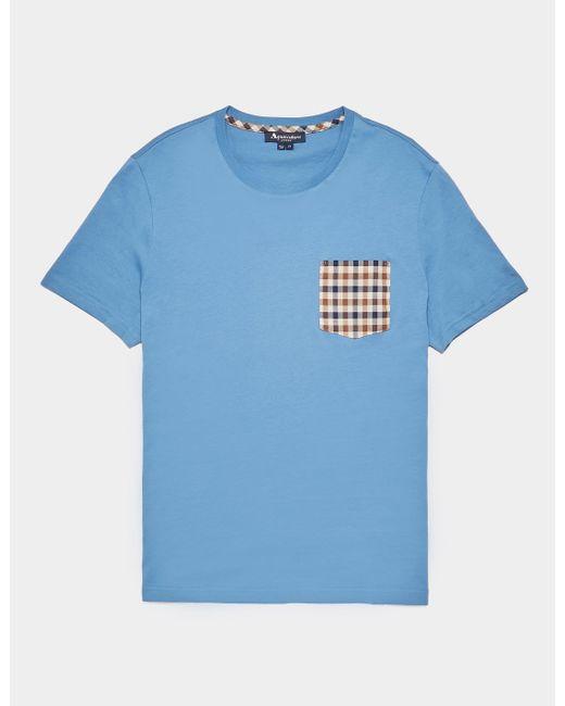 Aquascutum Blue Club Check Pocket Short Sleeve T-shirt for men