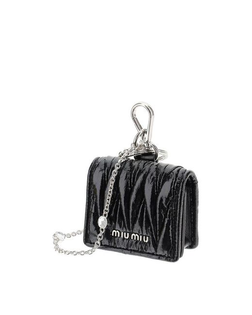 Miu Miu Black Quilted Crystal Airpods Case In Nappa Leather Onesize