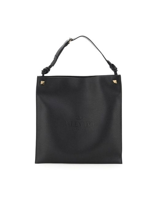 Valentino Black Large Identity Flat Bag In Hammered Leather Onesize for men