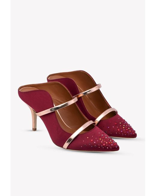 Malone Souliers Multicolor Maureen 70 Crystal Satin Mules With Metallic-leather Straps