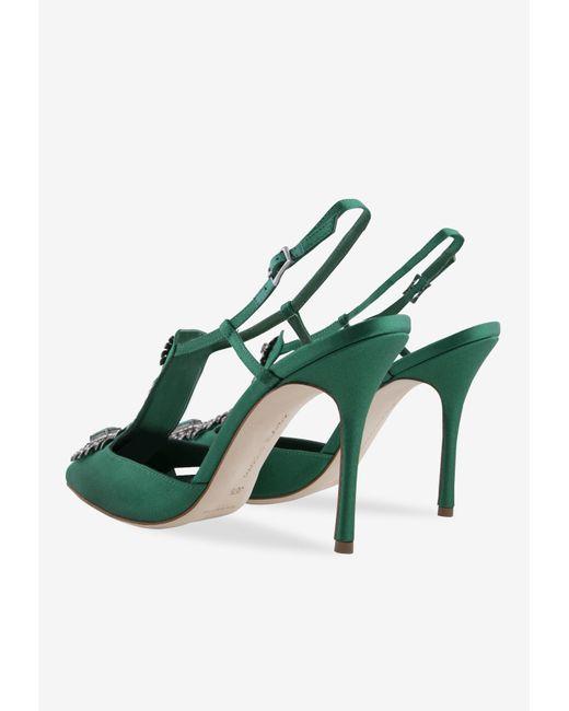 Manolo Blahnik Green Jamala 105 Emerald Satin Pumps
