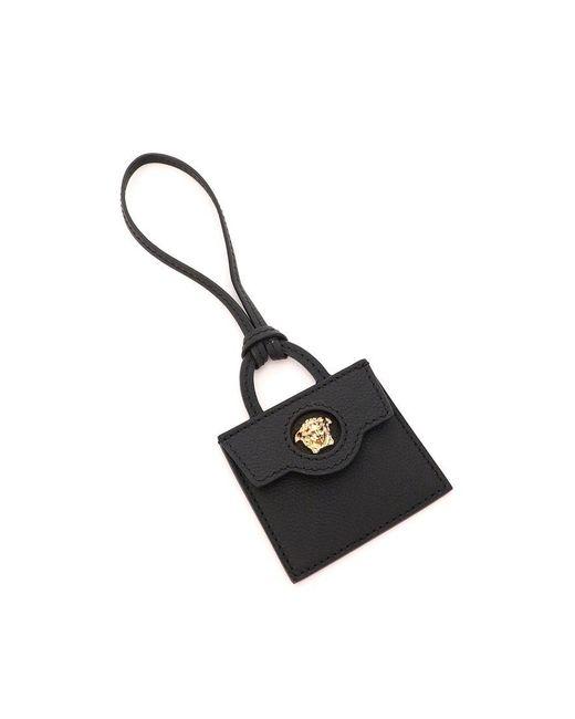 Versace Black La Medusa Bag Charm In Calfskin Onesize