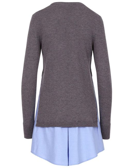 Thakoon sweater combo shirt dress in gray lyst for Sweater and dress shirt combo