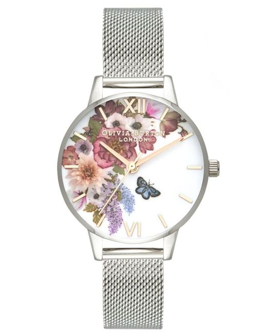 Olivia Burton - Metallic Enchanted Garden Midi Mesh Watch - Lyst