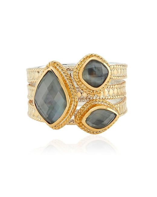 Anna Beck Metallic Dreamy Dusk Grey Quartz Faux Stacking Ring