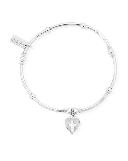 ChloBo - Metallic Mini Noodle Ball Bracelet With Cross Heart - Lyst