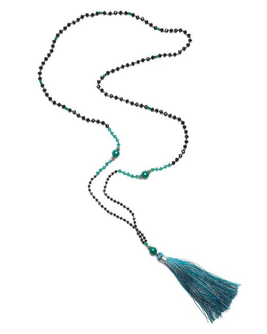 TRIBE + FABLE | Black Single Tassel Necklace | Lyst