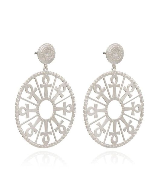 Rachel Jackson Metallic Key Of Life Medallion Earrings
