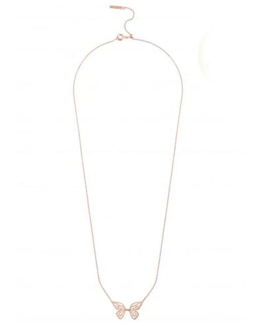 Olivia Burton - Pink Butterfly Wing Necklace - Lyst