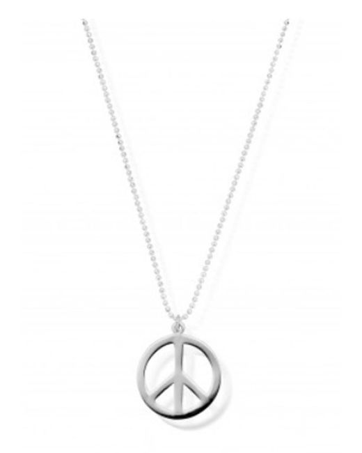 ChloBo - Metallic Diamond Cut Chain Necklace With Peace Pendant - Lyst
