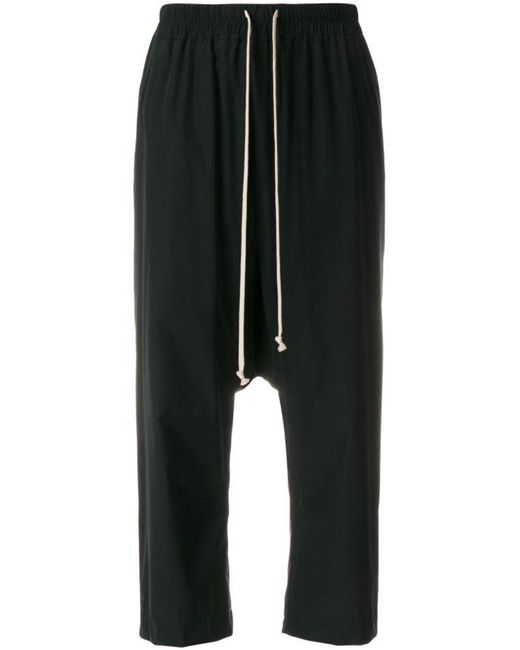 Rick Owens - Black Cropped Track Trousers - Lyst