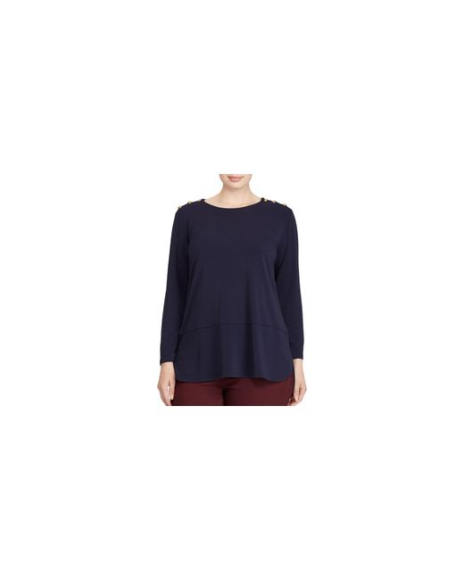 Lauren by Ralph Lauren | Blue Plus Button-shoulder Jersey Top | Lyst