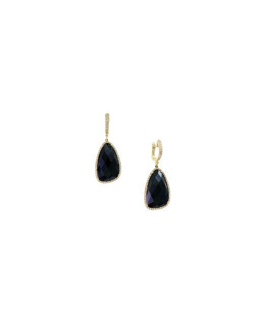 Effy | Metallic 14k Yellow Gold Onyx And 0.56tcw Diamond Drop Earrings | Lyst