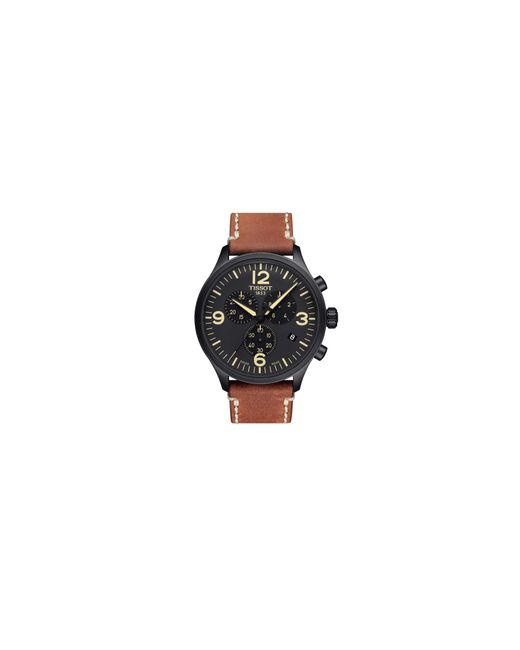 Tissot | Chronograph T Sport Black Ip Leather Strap Watch for Men | Lyst